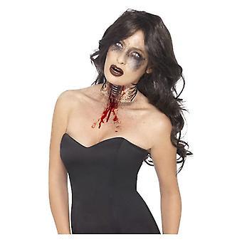 Zombie blootgestelde keel wond