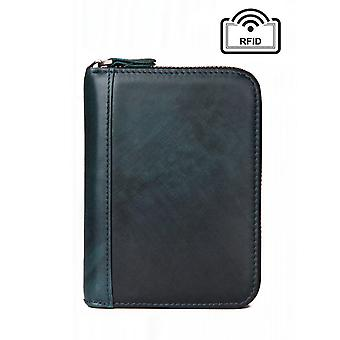 Green-blue wallet in genuine leather with RFID signal blocking - 18 slots