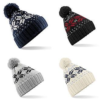 Beechfield Unisex Fair Isle Snowstar Winter Beanie Hat