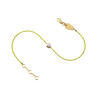 Anklet 0.10 carat Diamond Solitaire 18K Gold, on Thread - Yellow Gold, NeonYellow
