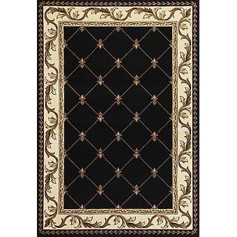 3'x5' Musta kone kudottu käsin veistetty Fleur De Lis Sisätila matto