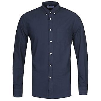 Portuguese Flannel Belvista Button-Down Long Sleeve Navy Shirt