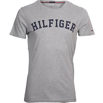 Tommy Hilfiger Hilfiger Crew-Neck Organic Cotton T-Shirt, Grey Heather With Navy