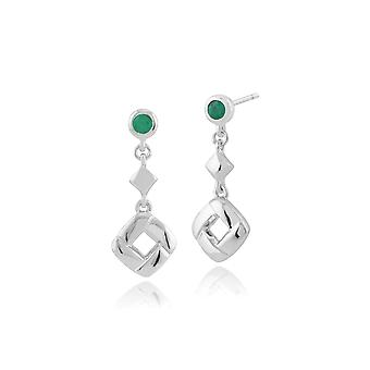Classic Round Emerald Square Crossover Drop Earrings in 925 Sterling Silver 270E020003925