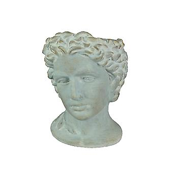 Distressed Cement Classic Greek Warrior Bust Indoor/Outdoor Head Planter