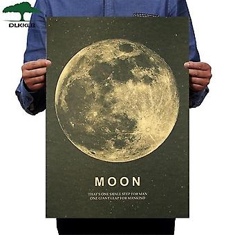 Moon Classic Poster A Great Step For Humans Kraft Paper Vintage Style Wall