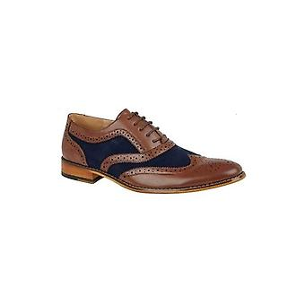 Goor Lloyd Mens Faux Leather Oxford Brogues Tan/navy