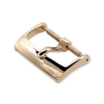 Strapcode watch buckle  16mm, 18mm solid 316l stainless steel classic 2mm-tongue buckle, ip gold