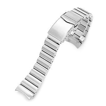 Strapcode watch bracelet 22mm bandoleer 316l stainless steel watch bracelet for seiko 5, brushed v-clasp