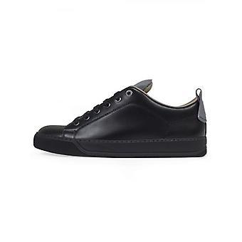 Lanvin Black Reflective Panel Leather Sneaker
