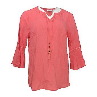 Denim & Co. Women's Top Crinkle Gauze Bell Sleeve Top Pink A306777