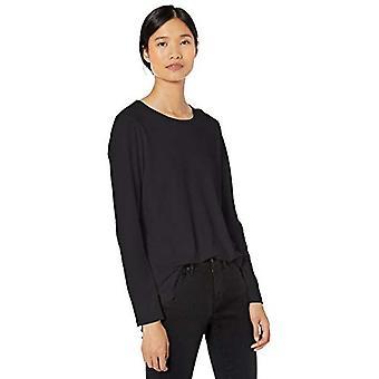 Merkki - Goodthreads Women's Washed Jersey Puuvilla Pitkähihainen Crewneck T-paita, Musta, Keskikokoinen