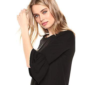 Lark & Ro Mujeres's vestido de punto de manga de campana, negro, pequeño