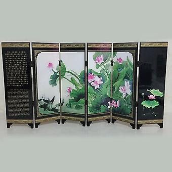 Mini Folding Screen 6 Panel Printed Canvas Room Divider - Tabletop Oriental Asian View Home Decoration