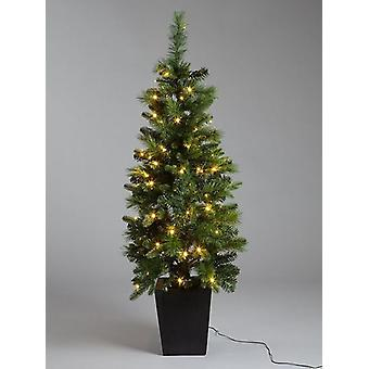 4.5FT Pre Lit Potted Christmas Tree Indoor/Outdoor