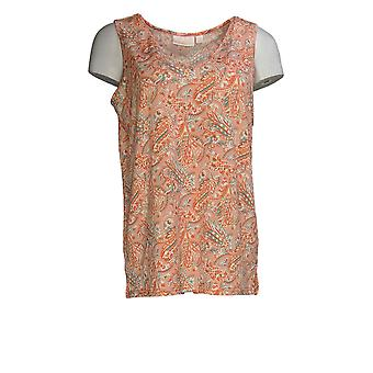 Belle by Kim Gravel Women's Top Printed Liquid Knit Tank Pink A373653