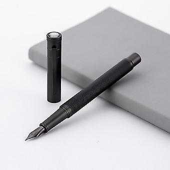 Fountain Ink Pen - Full Metal Clip Pen, Stainless Steel Black / White Classic