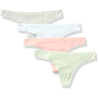 Essentials Women's Standard 4-Pakkaus Saumaton Bonded Stretch Thong Sukkahousut, Cool, M