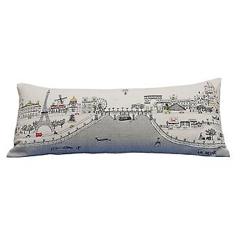 Spura Home Paris Printed Skyline Embroidered Wool Cushion Day/Night Setting