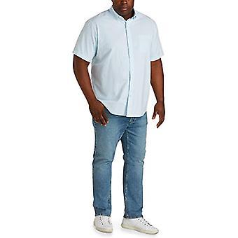 Essentials Menns Store og Høye Kortermet Lomme Oxford Skjorte Passform av DXL, Aqua Stripe, 3XLT