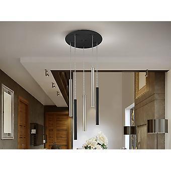 Intégré LED 5 Light Cluster Drop Ceiling Pendentif Matt noir, Or