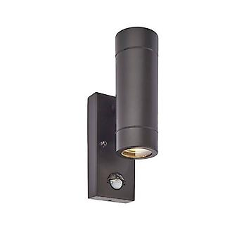 Saxby Palin Pir - 2 Lichte Outdoor PIR Up Down Wall Light Mat Zwart, Glas IP44, GU10