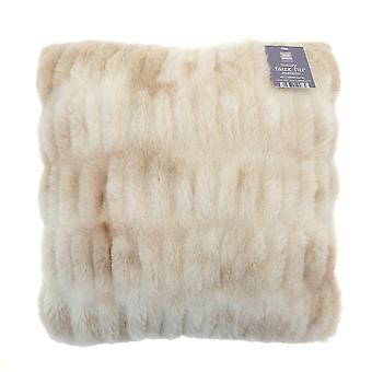 Country Club Luxury Faux Fur Filled Cushion, Natural