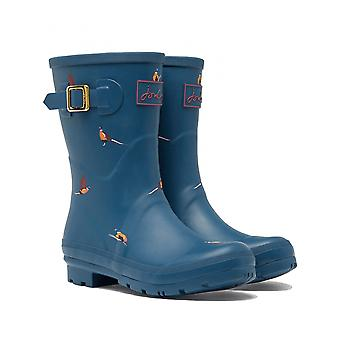 Joules Molly Womens Mid Height Printed Wellies - Teal Fazant