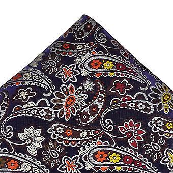 Ties Planet Van Buck Platinum Purple, Silver, Red, Orange, Yellow & Brown Patterned Silk Pocket Square Handkerchief