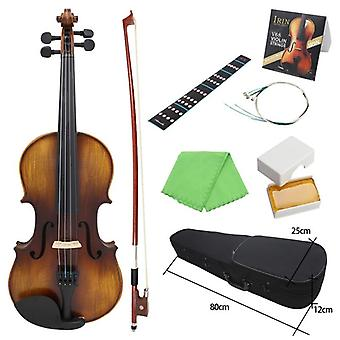 Violino Av-full Size Acoustic Fiddle Kit Solid Wood Matte Finish Ebony Board