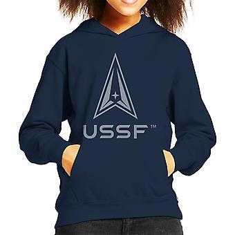 U.S. Space Force Darker Logo USSF Darker Text Kid's Hooded Sweatshirt