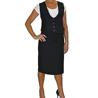 Women's Business 2 Piece Button Down Vest Waistcoat Suit Ladies Tailored Fully Lined Smart Office Pencil Skirt Suit 12-20