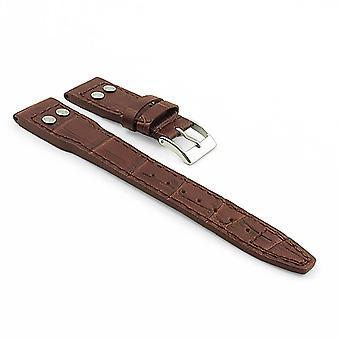 Strapsco dassari aviator crocodile embossed leather strap with rivets