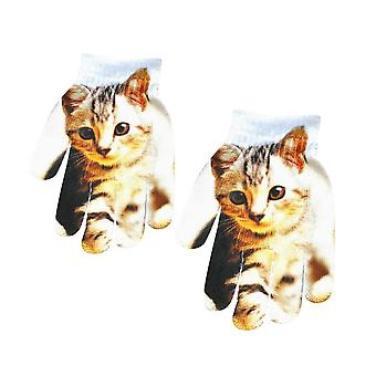 Children Kids Winter Gloves Warm 3d Animal Print Stretch Knit Mittens Kitty Pet