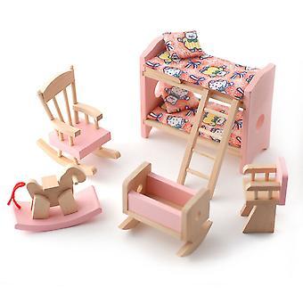 Κούκλες σπίτι ροζ ξύλινο φυτώριο υπνοδωμάτιο που μινιατούρα 3 χρόνια συν έπιπλα