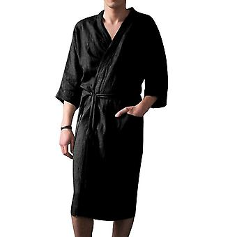 الرجال حمام الفانيلا مقنع سميكة عارضة فصل الشتاء طويل كيمونو رداء دافئ