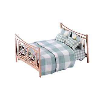 Dollhouse Miniatura Europeo Retrò Letto matrimoniale Modello Camera da letto Accessori Decorazione