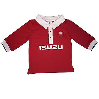 Wales WRU Rugby Baby / batole s dlouhým rukávem košile | Červená | 2021