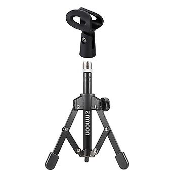 Ammoon mini foldable adjustable desktop microphone stand tripod with mc4 mic clip holder bracket for