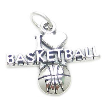 I Love Basketball Sterling Silver Charm .925 X 1 Basket Ball Charms - 3728