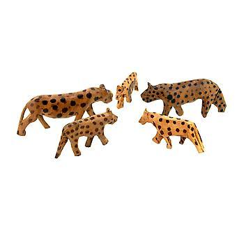 Vintage Wooden Leopard Figurine Family - 5 Piece Set