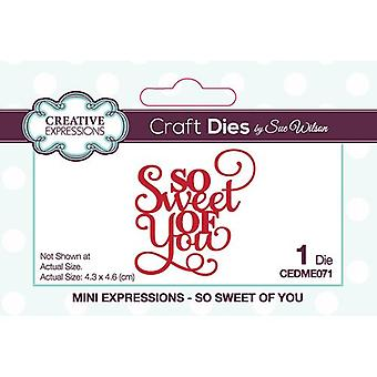Creative Expressions Mini Expressions Collectie Cutting Dies - So Sweet Of You