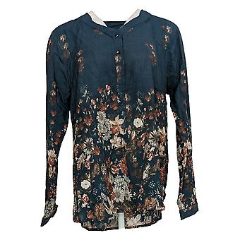 Tolani Women's Top Collection Printed V-Neck Woven Blue A354873