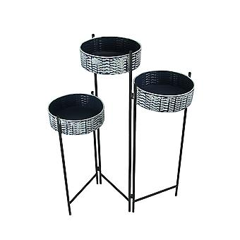 3 Level Foldable Plant Stand With Galvanized Metal Planters