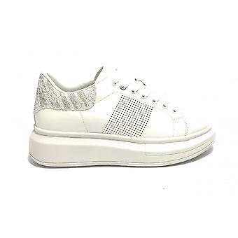 Женские кроссовки с клином Золото и золото Ecopelle Белый/ Блеск Ds21gg06