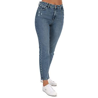 Women's Only Emily Life High Waist Straight Ankle Jeans in Blue