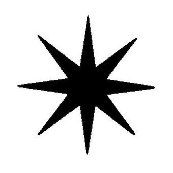 8 Pointed Star Wood Mounted Stamp