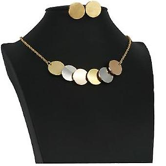 Pz Trendy Stainless Steel Three-color Pendant Necklace Earrings Jewelry Sets