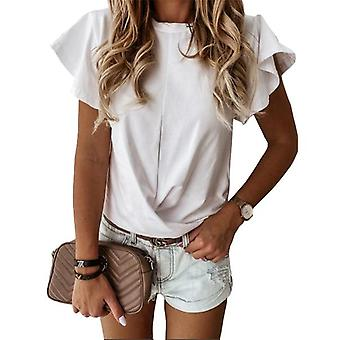 O-Neck Flare Ruffles Loose Pullovers Casual T-Shirts