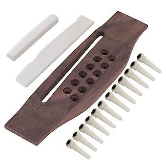 12 String Guitar Bridge & Bone Slotted Saddle Nut & Bone Pin Set